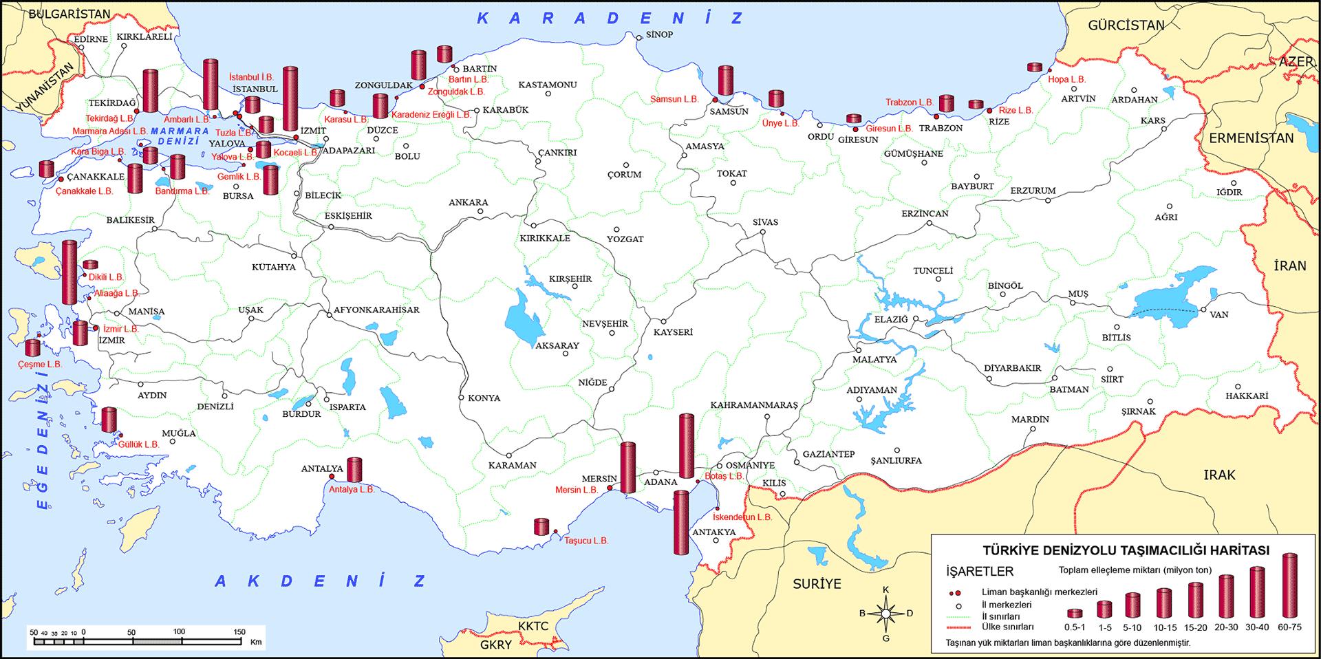 Türkiye Deniz Yolu Taşıma Haritası